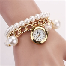 Women Faux Pearl Rhinestone Chain Bracelet Watch
