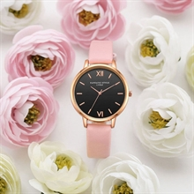Woman Pink Leather Retro Watch